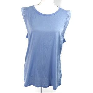 T246 GAP Sleeveless Top Lace Trim Blue Size L